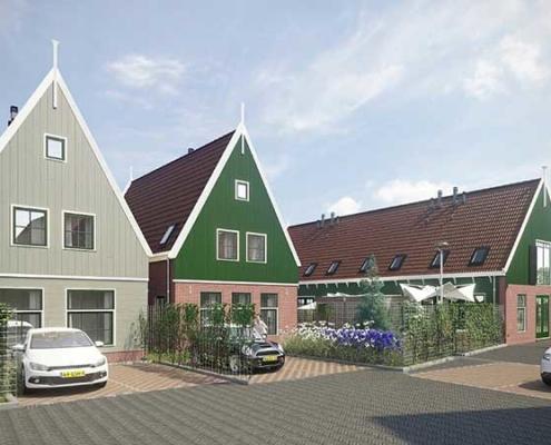 Herontwikkeling van een voormalige bedrijventerreintje naar 4 eengezinswoningen en twee geschakelde herenhuizen in Ilpendam